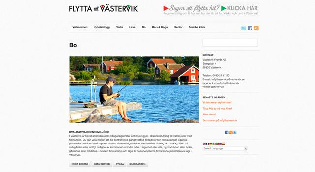 Webbplats för inflyttarservice Västervik