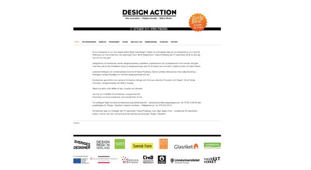 Webbplats/ Anmälningssida till en konferens av Sveriges designer