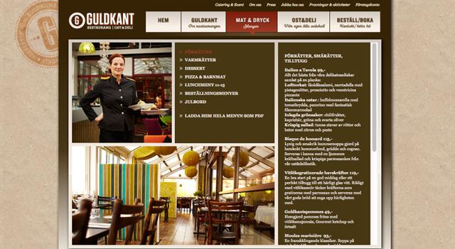 Webbplats och webmastertjänst till Restaurang Guldkant