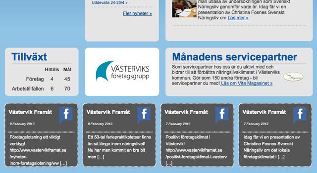 Utveckling av befintlig webbplats för Västervik Framåt AB