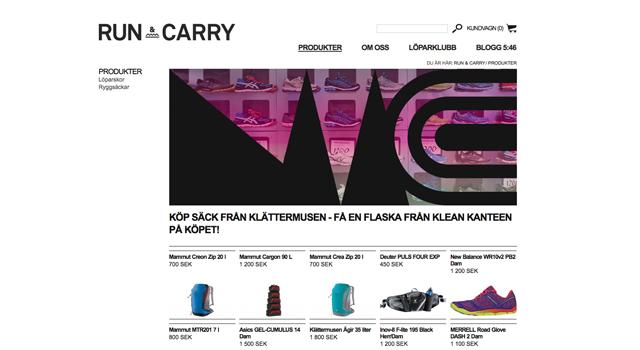 Webbplats och Webshop till Run & Carry